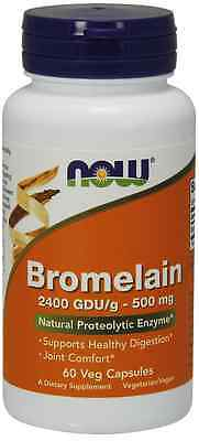 New - NOW Foods Bromelain 2400 GDU 500 mg 60 Vcaps