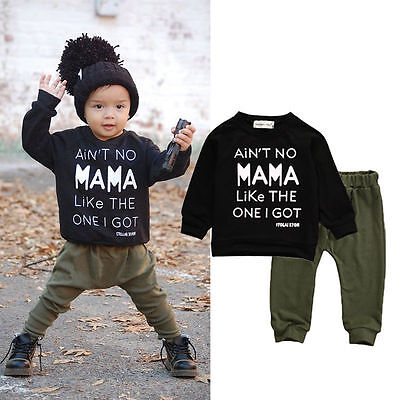 2pcs Toddler Kid Baby Boys T Shirt Tops+ Long Pants Trousers Set Clothes Outfits