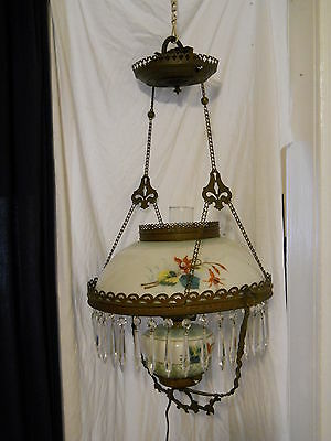 victorian adjustable hanging light with crystals  and hand painted shade