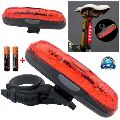 5 LED Waterproof Bike Bicycle Rear Back Tail Light Lamp Taillight+2x AAA Battery