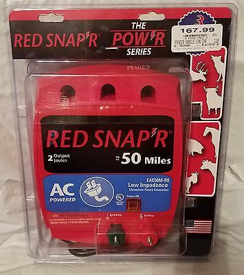 Red Snap'r EC50M-RS 50-Mile AC Low Impedence FENCE Charger, New, Free Shipping