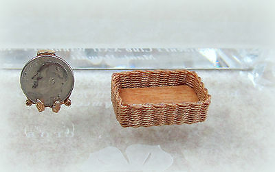 Dollhouse Miniature Handcrafted Wood and Wicker Rectangular Basket by Wilhelmina