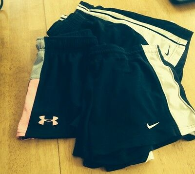 Nike Lot Of 3 Exercise Fitness Shorts Youth Med/large Black/ White Black/pink.