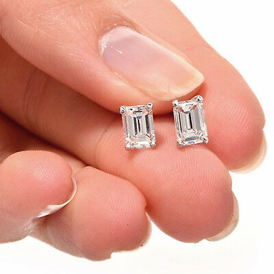 2 ct Emerald Cut Solitaire Stud Earrings in Solid 14k Real White Gold Screw Back