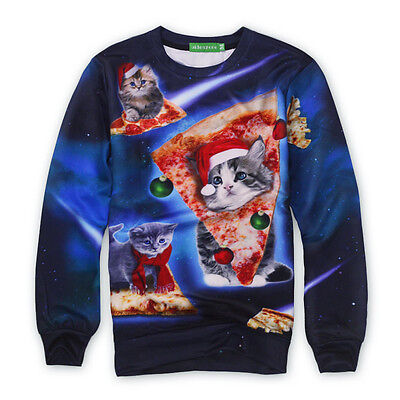 Fashion Men Women Christmas Pizza Cat Pullover Sweater Sweatershirt Tops