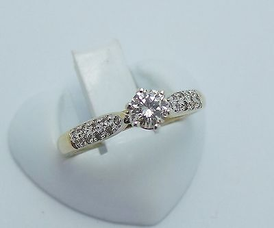 9Ct Yellow Gold Two Toned Brilliant Cut Diamond Engagement Ring Valued $1495