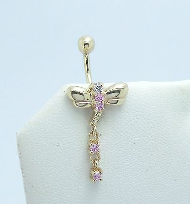 Large 9Ct Yellow Gold Gem Set Dragonfly Belly Bar