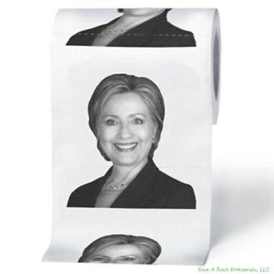 Hillary Clinton Toilet Paper Tissue Roll Presidential Novelty Funny Gag Gift US