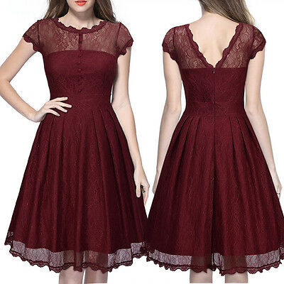 Womens 1950s Vintage Style Retro Evening Party Swing Classic Lace A-Line Dress