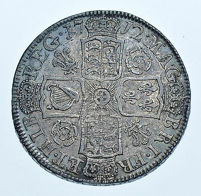 1712  Halfcrown, Roses & Plumes British Silver Coin From Anne Vf
