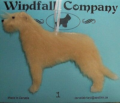 Wheaten with White Irish Wolfhound Dog Plush Christmas Canine Ornament #1 by WC