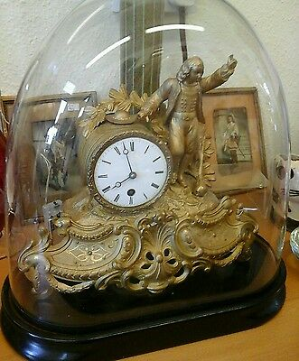 French gilt mantal clock by A, Paris