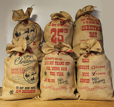 Santa Sack Large Vintage Hessian Christmas Sack Stocking Jute Xmas Gift Bag