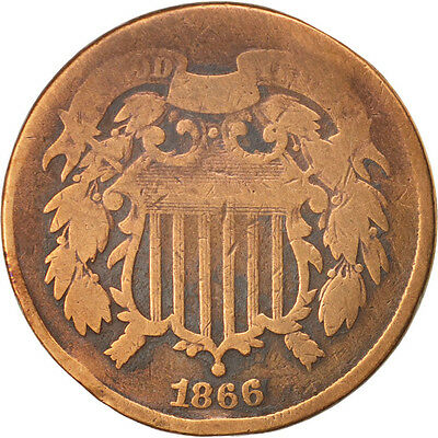 United States, 2 Cents, 1866, U.S. Mint, Philadelphia, VG(8-10)