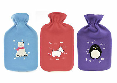 Cute Animal Design 2 Litre Hot Water Bottle & Fleecy Cover – 3 to Choose From