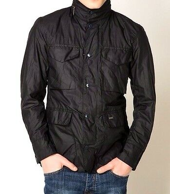 Men's Barbour Sapper Tailored Hooded Wax Navy Jacket Coat Size L