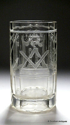 Large Victorian Masonic Engraved Glass Tumbler c1860