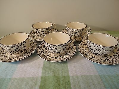 5 x Laura Ashley Johnson Brothers Susanna Cups and Saucers Brown Cream Used VGC