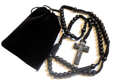 Mens Womens Black Brown Wood Rosary Bead Beads Necklace Cross & FREE Gift Pouch