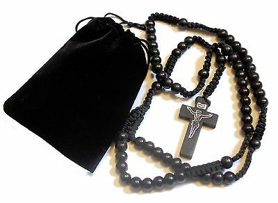 Mens Womens Black Wood Rosary Bead Beads Necklace Cross & FREE Velvet Gift Pouch