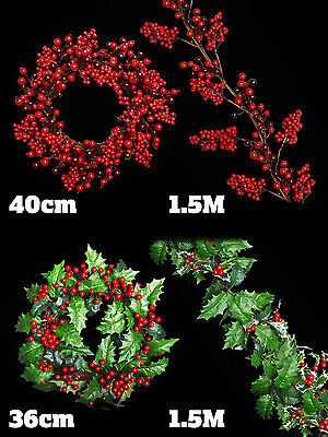 Christmas Garland Holly Leaf Berry Wreath Decoration Door Mantle Piece Swag