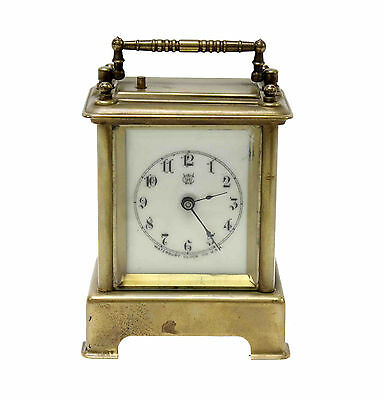Waterbury Antique Brass Carriage Clock White Face - WORKS!