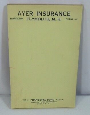 Antique Advertising Notepad AYER INSURANCE 1930s New Hampshire Vintage Ephemera
