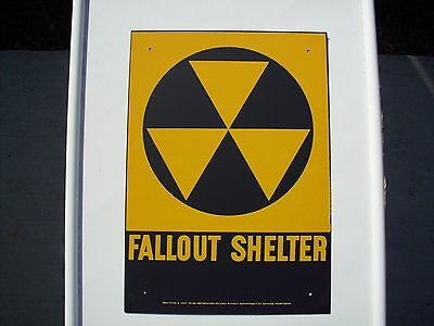 """VINTAGE '60S ORIGINAL FALLOUT SHELTER SIGN. GALV.STEEL 10""""x14""""  NICE"""