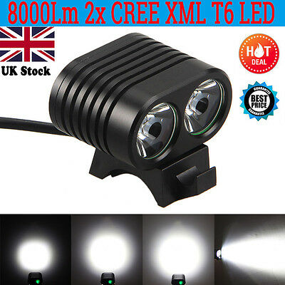 8000Lm Bicycle Headlight 2x CREE XM-L2 LED Bike Cycling Front light Headlamp UK