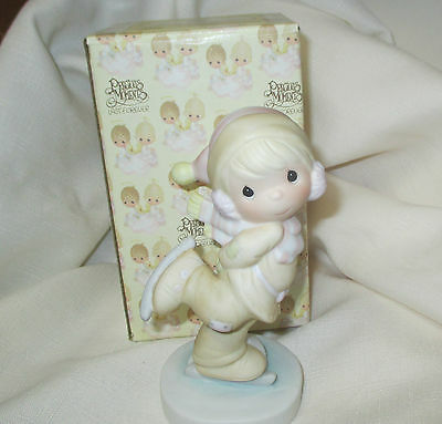 "Precious Moments ""Dropping in for Christmas"" Boy skater Porcelain Figurine"