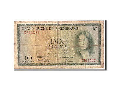 [#311609] Luxembourg, 10 Francs, Undated (1954), KM:48a, VG(8-10)