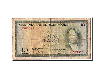 Luxembourg, 10 Francs, Undated (1954), KM:48a, VG(8-10)