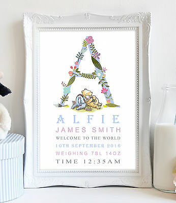 A4 Personalised Winnie The Pooh Picture Print Christening Gift New Birth Baby