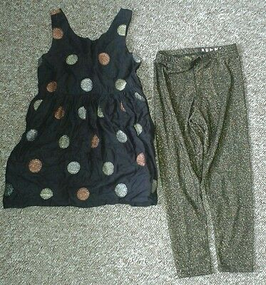 Gorgeous girls nutmeg dress and leggings set aged 6-7 years party
