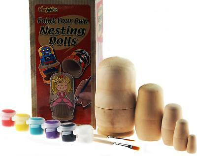 Paint And Design Your Own Set Of 5 Wooden Russian Nesting Dolls - Craft Kit Toy