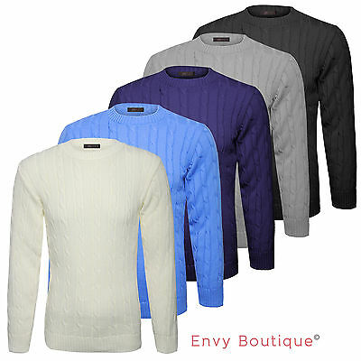 Mens Luxury Crew Neck Plain Chunky Cable Knitted Sweater Jumper Top