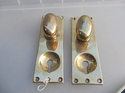 Antique Bronze Door Knobs Handles Door Pulls Vintage Old Oval Keyhole Plate