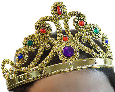 ADJUSTABLE PLASTIC PRINCESS TIARA In Gold & Silver
