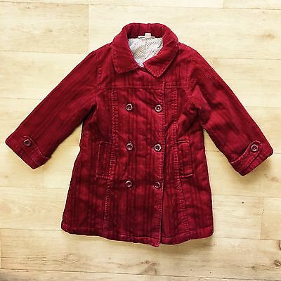 Vertbaudet MILA BLUE Girl's Lined Red Corduroy Coat Age 4 Years
