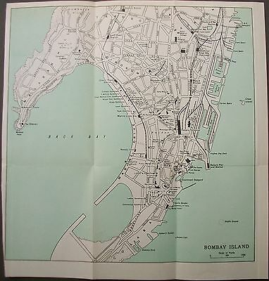 1959 India Bombay Island Mumbai Town City Plan Murrays Map Streets Stations