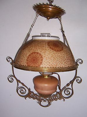 Beautiful Antique Oil Lamp Ceiling Light Converted To Electric