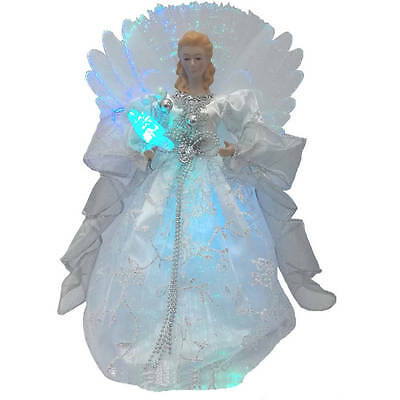 "Holiday Time Christmas Ornaments 12"" Silver Angel Tree Topper with LED Light"