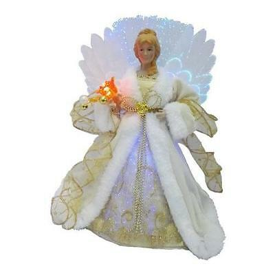 "Holiday Time Christmas Ornaments 12"" Cream Angel Tree Topper with LED Light"