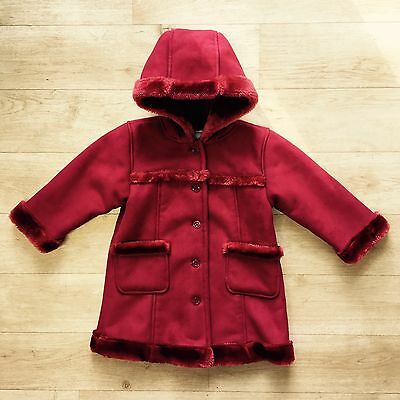 BABY GAP Girl's Gorgeous Super Warm & Cosy Red Faux Sheepskin Coat Age 2 Years