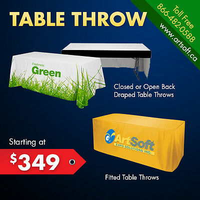 6ft Table Throw FULL COLOR Printed Drape Style for Trade Show Counters Booth