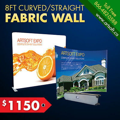 8ft Curved/Straight Tension Fabric Wall Tradeshow