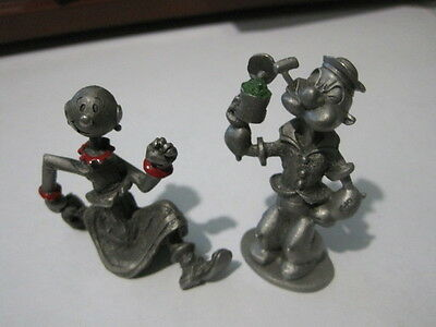 POPEYE and OLIVE pewter figures  Spoontiques  1980