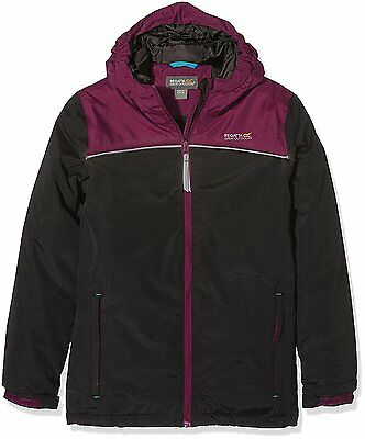 BNWT Regatta Icara Waterproof Hiking Walking Jacket Coat Black & Purple Age 3-4