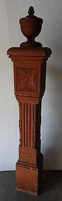 Ornate Antique Wood Newel Post Urn Finial Old Vtg Interior Staircase 1969-16