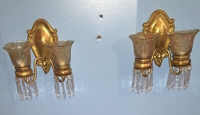 2 Unique Elegant Brass Sconces With Hanging Prisms Vintage Antique Wired